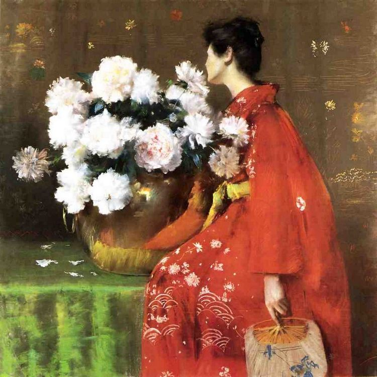 Peonies Pastel on paper  :: William Merritt Chase - flowers in painting фото