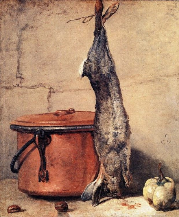 Rabbit, Copper Cauldron and Quince :: Jean-Baptiste-Simeon Chardin - Still life фото