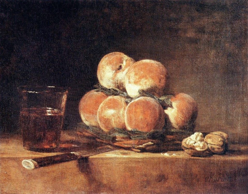 A Basket of Peaches  ::  Jean-Baptiste-Simeon Chardin - Still-lives with fruit фото