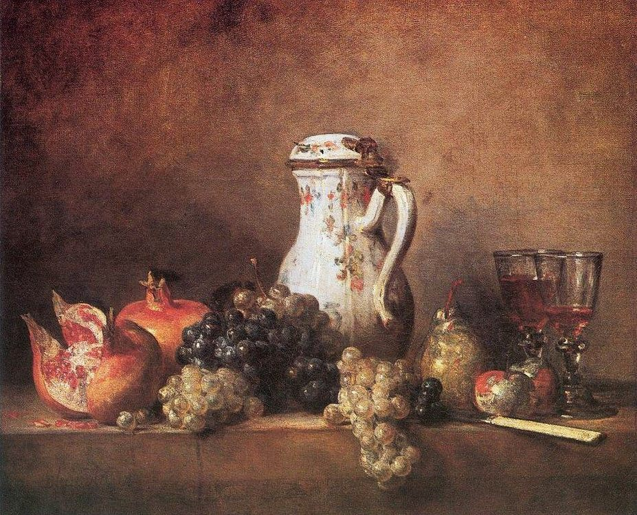 Still Life with Grapes and Pomegranates :: Jean-Baptiste-Simeon Chardin - Still-lives with fruit фото