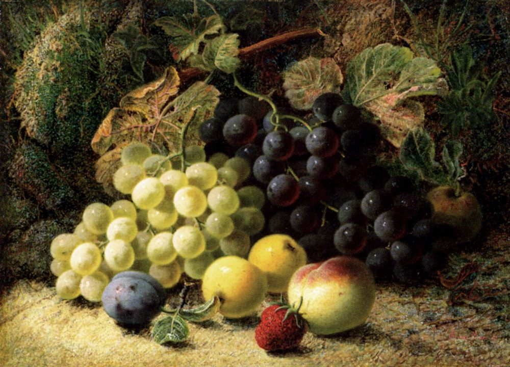 Grapes, Apples, A Plum, A Peach And A Strawberry, On A Mossy Bank :: Oliver Clare - Still-lives with fruit фото