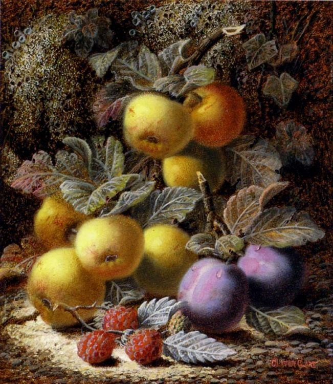 Still Life with Apples, Plums and Raspberries on a Mossy Bank :: Oliver Clare  - Still-lives with fruit фото