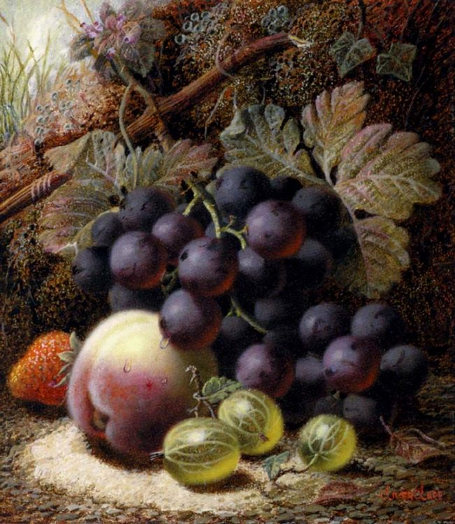 Still Life with Black Grapes, a Strawberry, a Peach and Gooseberries on a Mossy Bank - Still-lives with fruit фото