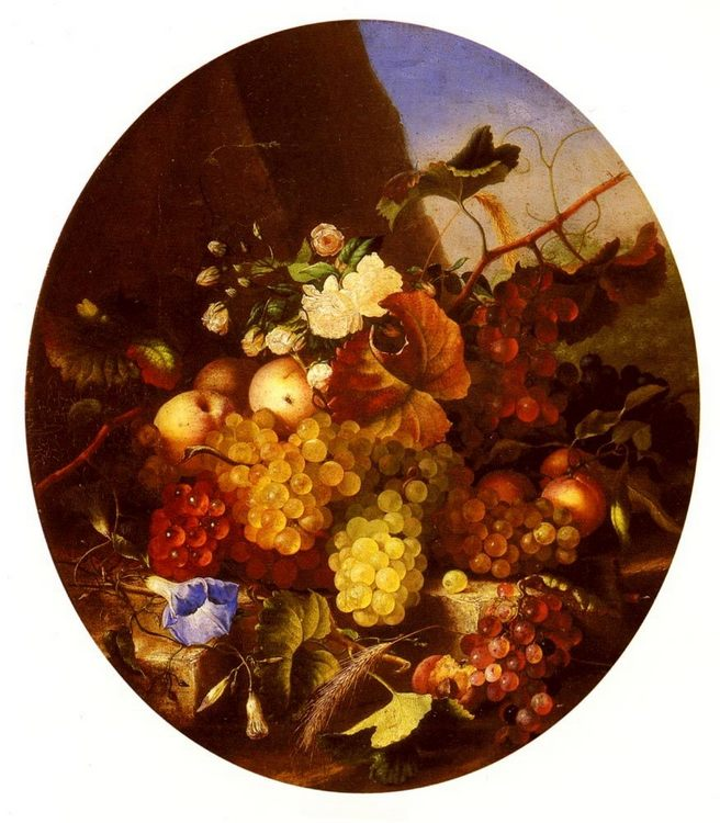 Still Life Of Fruit And Flowers :: Adelheid Dietrich  - flowers in painting фото