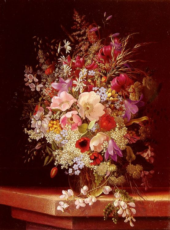 Still Life With Flowers :: Adelheid Dietrich - flowers in painting фото
