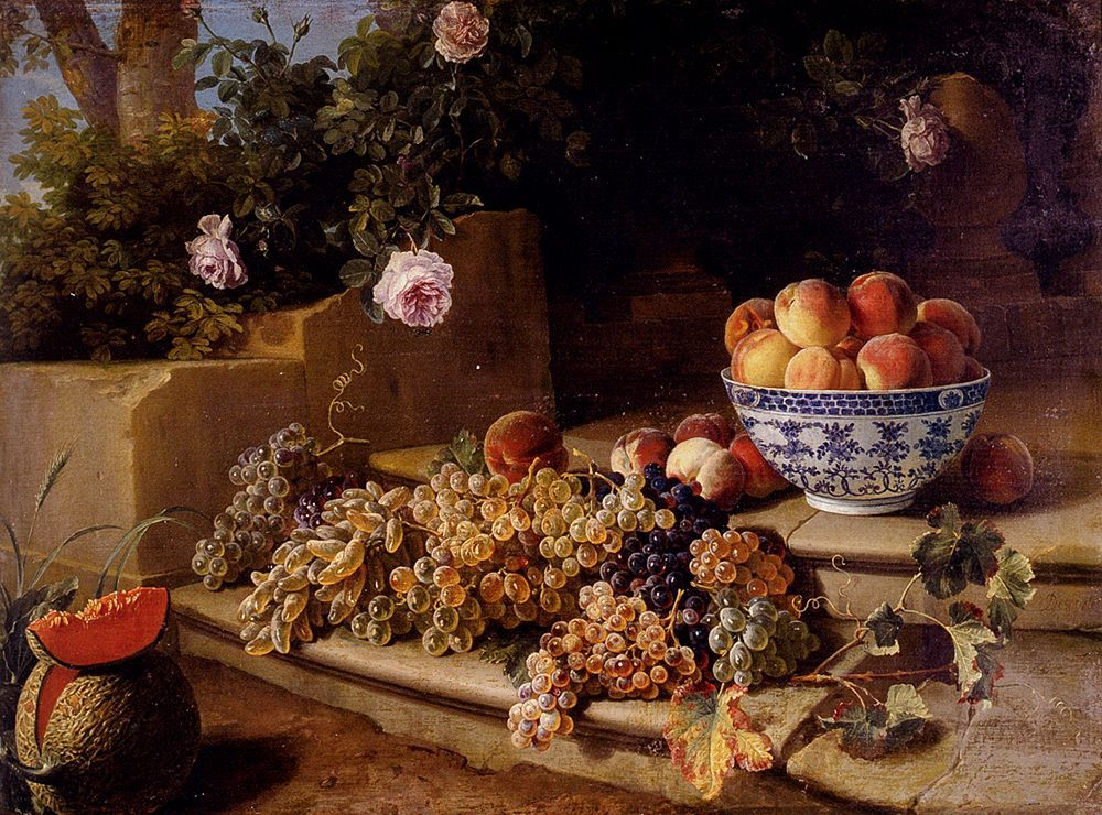 Still Life Of Grapes, Peaches In A Blue And White Porcelain Bowl :: Alexandre-Francois Desportes - flowers in painting ôîòî
