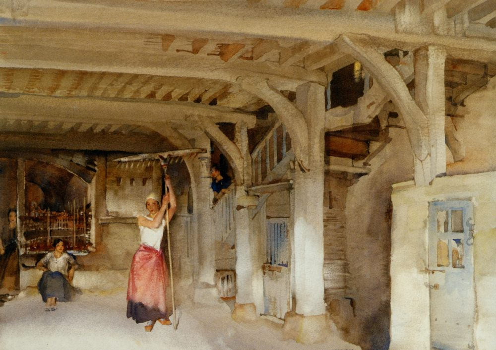 Lucilla Posing Amid the Jeers of Her Companions :: Sir William Russell Flint - Village life фото