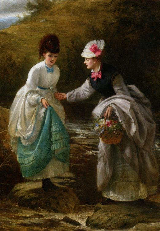 The Stepping Stones :: Thomas Brooks - Young beauties portraits in art and painting ôîòî