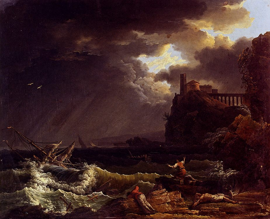 A Shipwreck In A Stormy Sea By The Coast :: Claude-Joseph Vernet - Seascape with ships фото