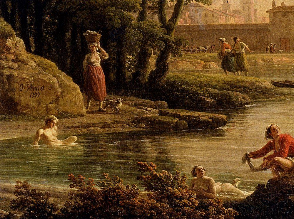 Landscape With Bathers - detail :: Claude-Joseph Vernet - River landscapes ôîòî