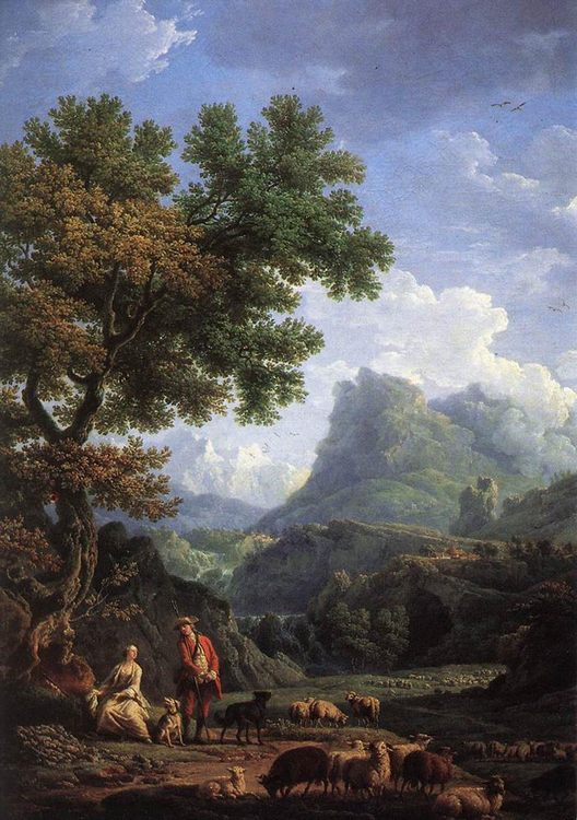 Shepherd in the Alps :: Claude-Joseph Vernet - Mountain scenery фото