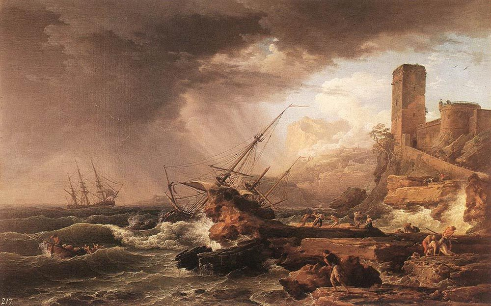 Storm with a Shipwreck :: Claude-Joseph Vernet  - Sea landscapes with ships фото