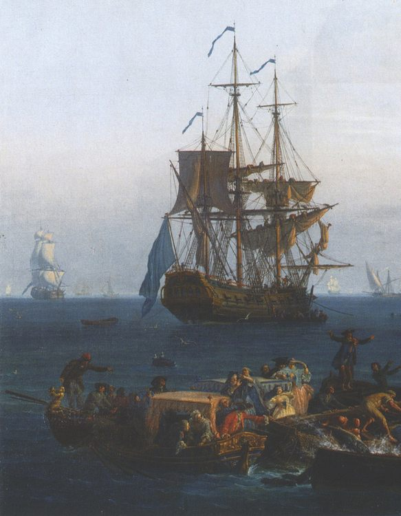 View of the Gulf of Bandol - tuna fishing [detail 1] :: Claude-Joseph Vernet - Sea landscapes with ships фото