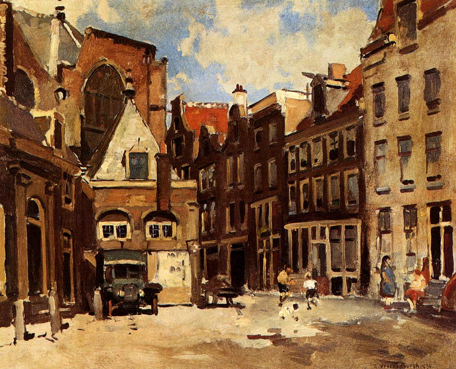A Townscene With Children At Play, Haarlem :: Cornelis Vreedenburgh - Holland and Dutch фото