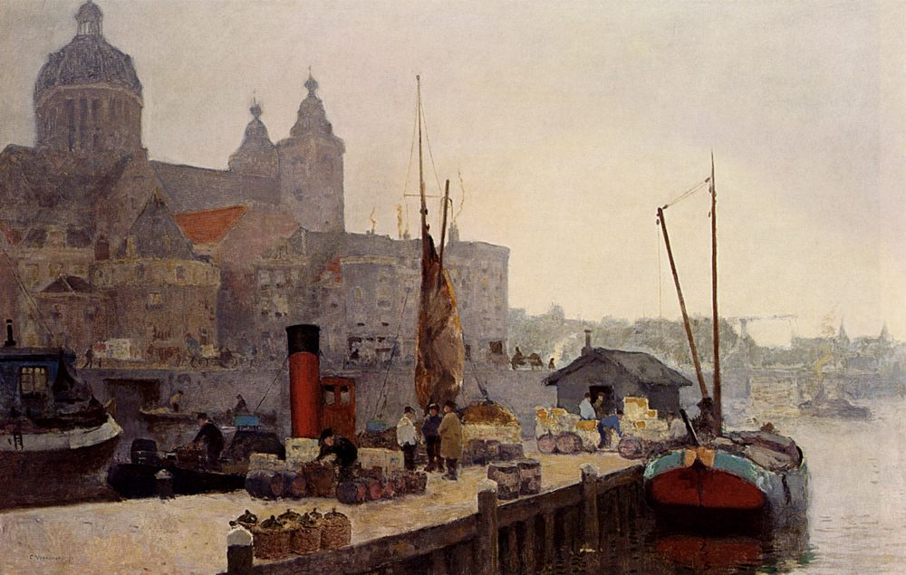 A View Of Amsterdam With The St. Nicolaas Church :: Cornelis Vreedenburgh - Holland and Dutch ôîòî