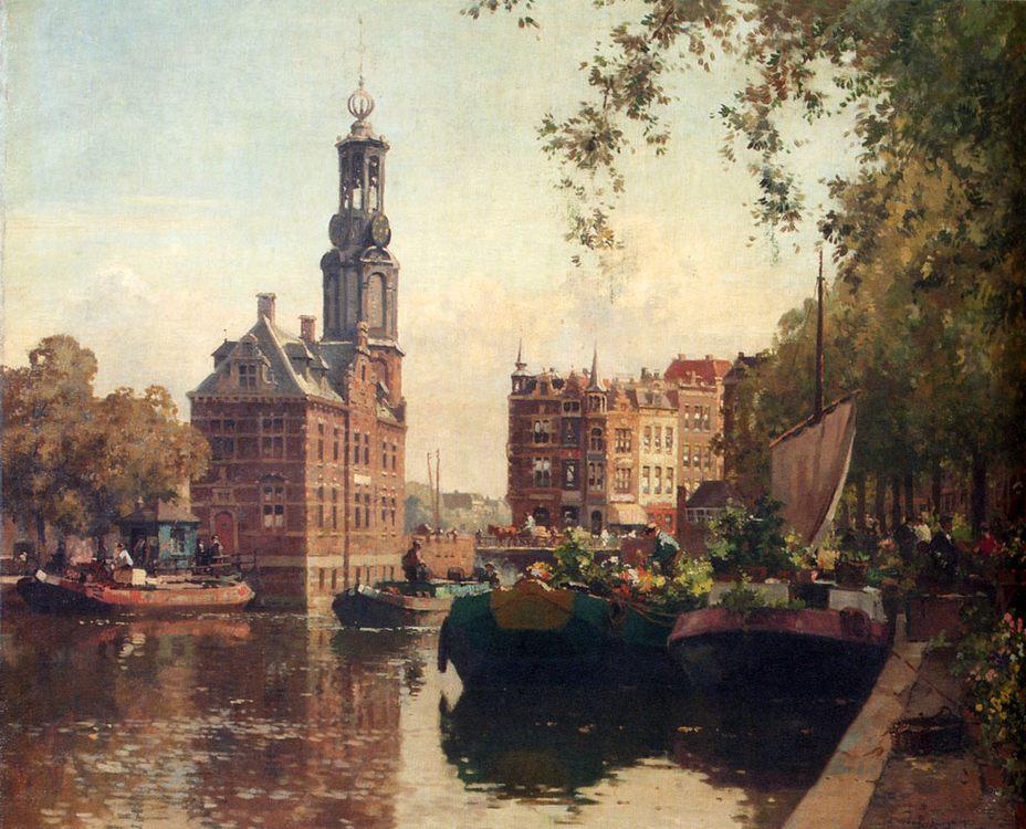 The Flowermarket On The Singel, Amsterdam, With The Munttoren Beyond :: Cornelis Vreedenburgh - Holland and Dutch фото