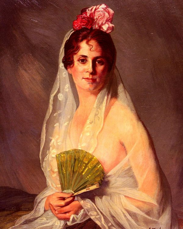 A Lady With A Fan :: Eduardo Zamacois y Zabala - 6 woman's portraits hall ( The middle of 19 centuries ) in art and painting фото