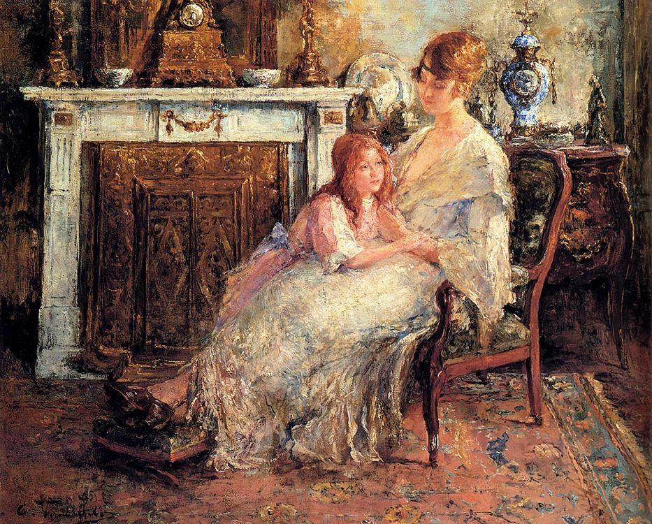 Mother And Daughter :: Edward Verschaffelt - Woman and child in painting and art фото
