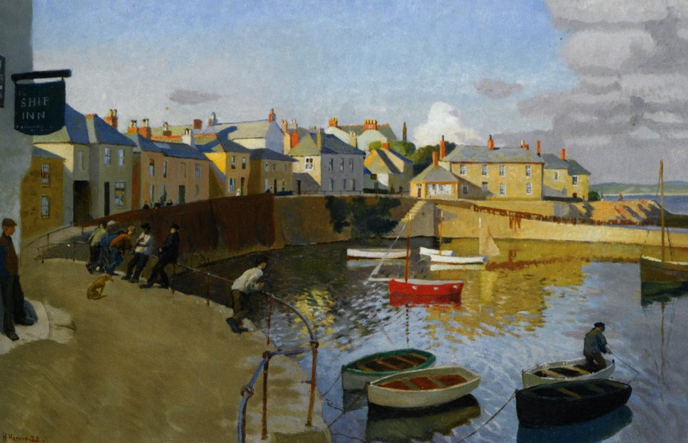 A View of Mousehole :: Harold Harvey - Seascape with boats фото