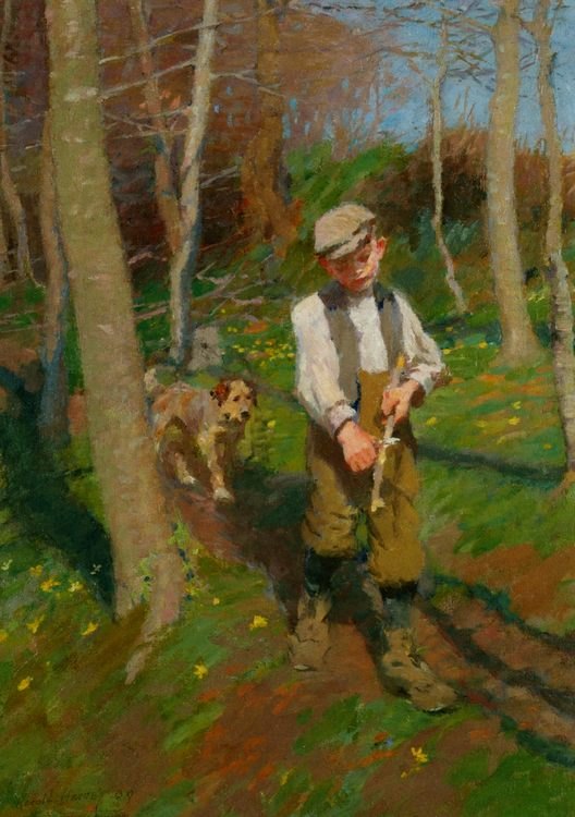 Boy Whittling a Stick :: Harold Harvey  - Portraits of young boys фото