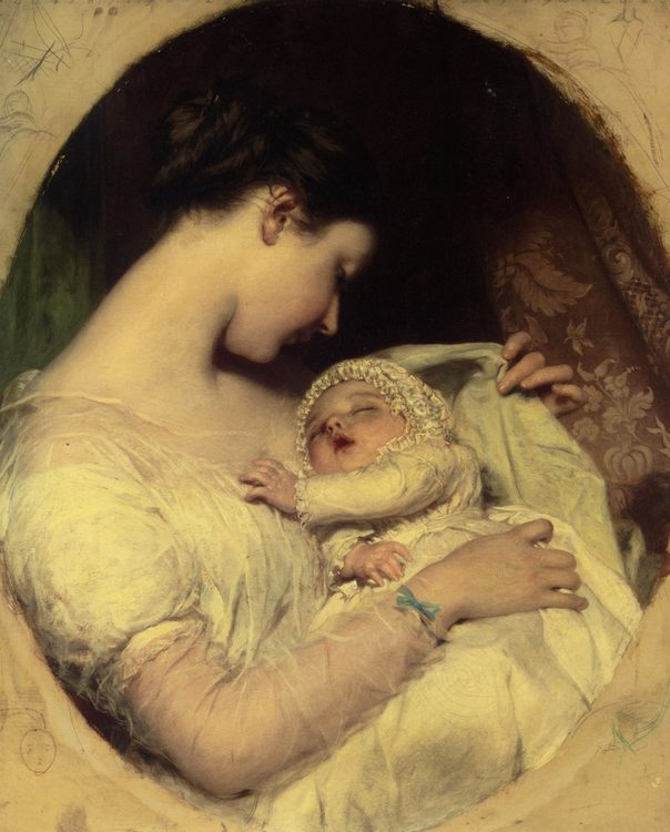 Artists Wife Elizabeth and Daughter :: James Sant - Woman and child in painting and art фото