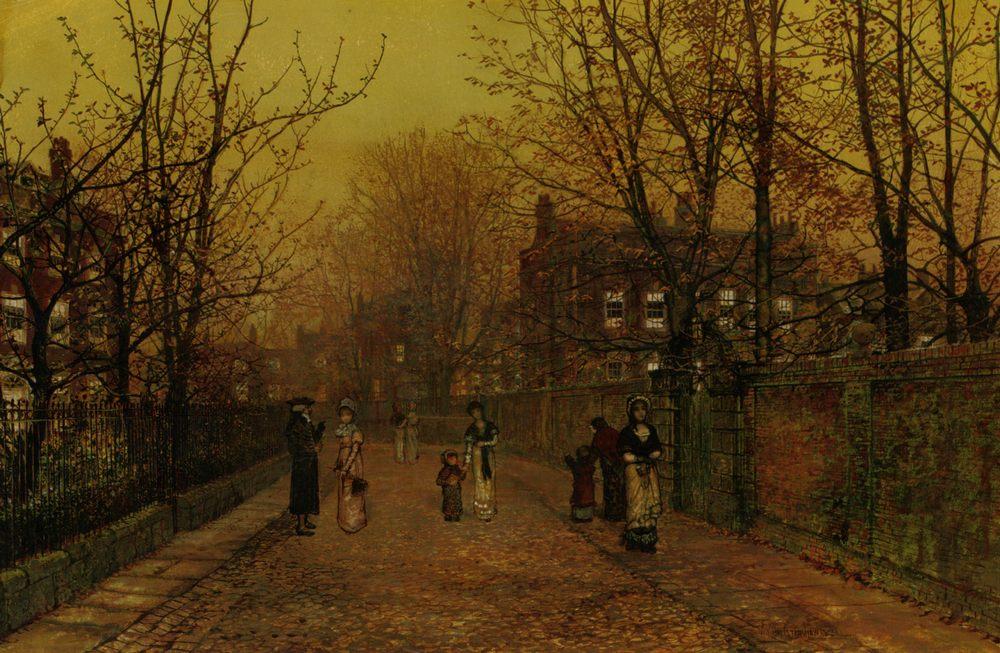 A Village Street on Sunday Eve :: John Atkinson Grimshaw - Streets фото
