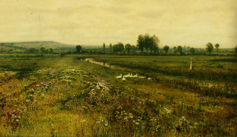 An Extensive Meadow Landscape with Geese by a Stream :: John Atkinson Grimshaw - Summer landscapes and gardens фото