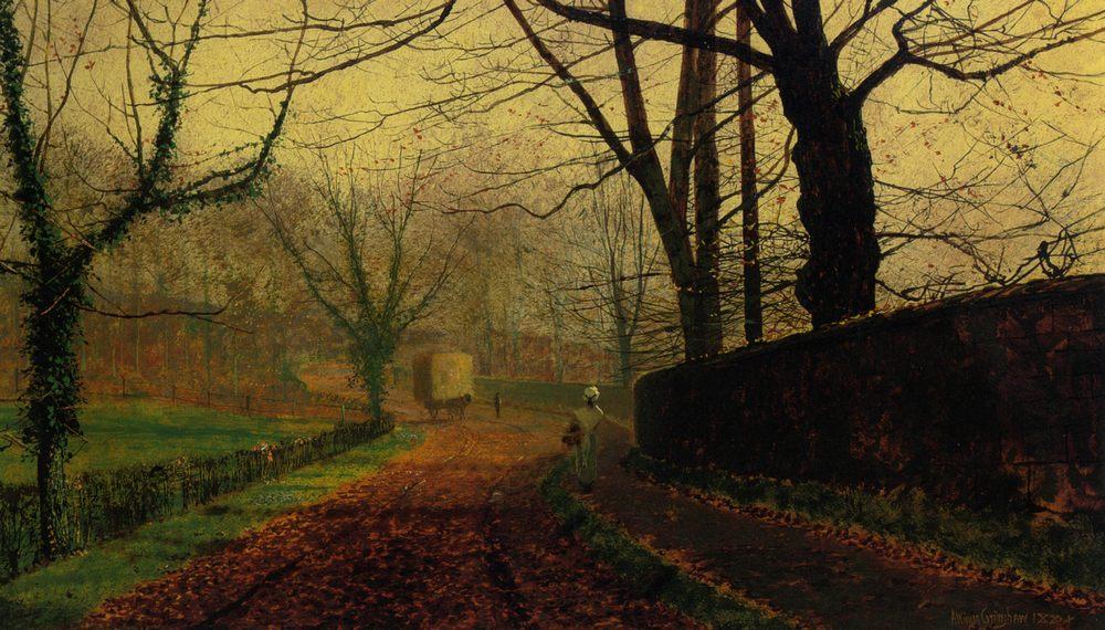 Autumn Sunshine Stapelton Park :: John Atkinson Grimshaw  - Streets ôîòî