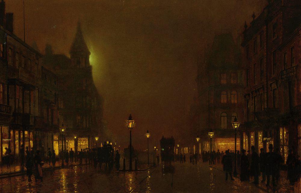 Briggate Leeds :: John Atkinson Grimshaw  - Night landscapes ôîòî