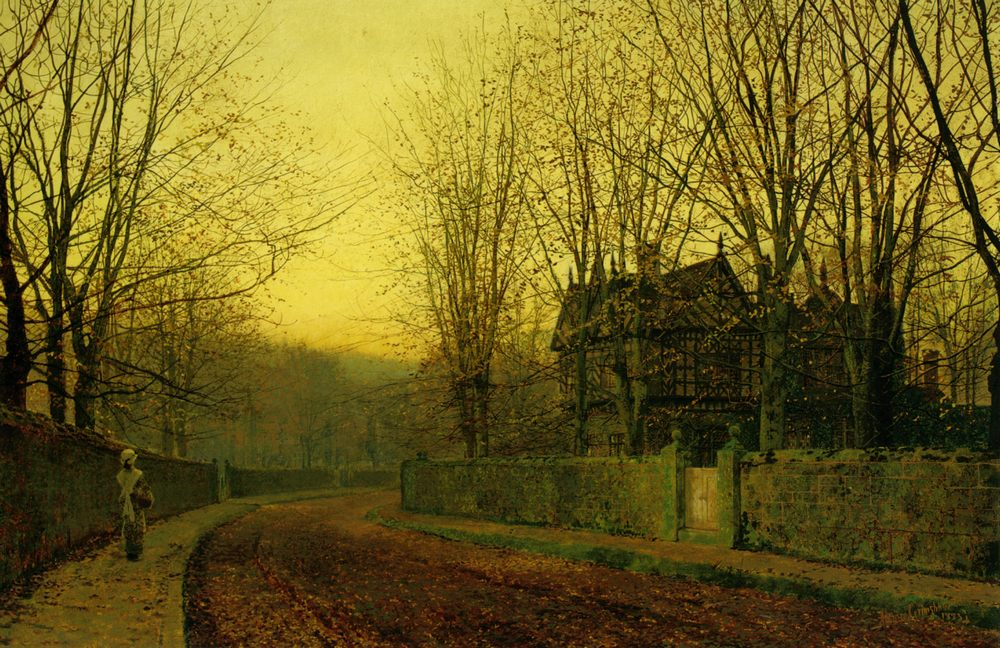 The Last Gleam :: John Atkinson Grimshaw  - Sunset and sunrise, sundown ôîòî