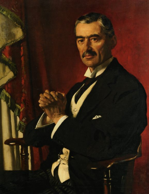 Portrait of Neville Chamberlain :: Sir William Newenham Montague Orpen - men's portraits 20th century фото