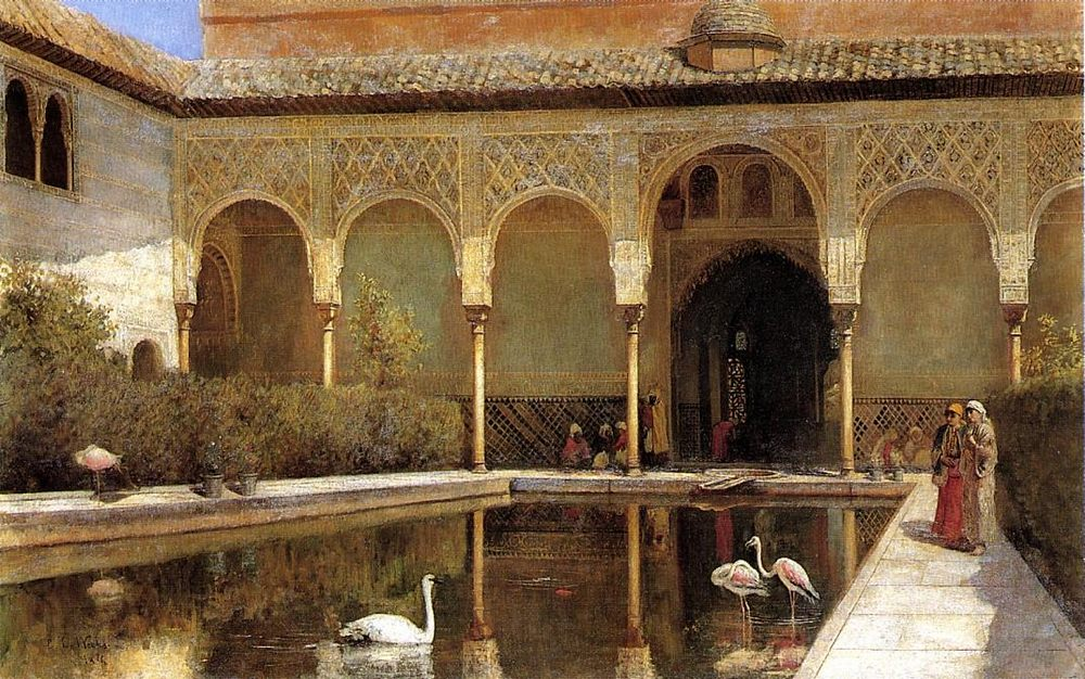 A Court in The Alhambra in the Time of the Moors :: Edwin Lord Weeks  - Oriental architecture фото
