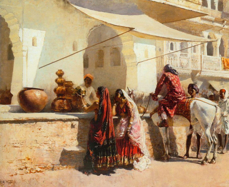 A Street Market Scene, India :: Edwin Lord Weeks - Street and market genre scenes фото