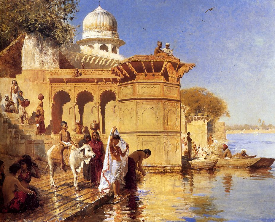 Along the Ghats, Mathura :: Edwin Lord Weeks  - Oriental architecture фото