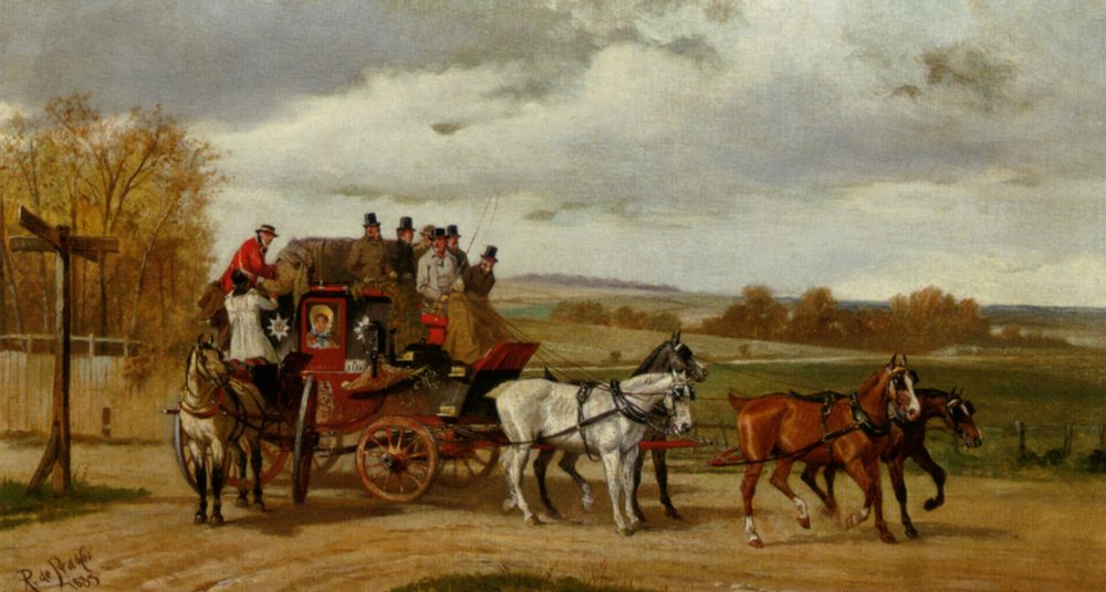 Summer Royal Mail Coach :: Alfred F. De Prades - Horses in art фото