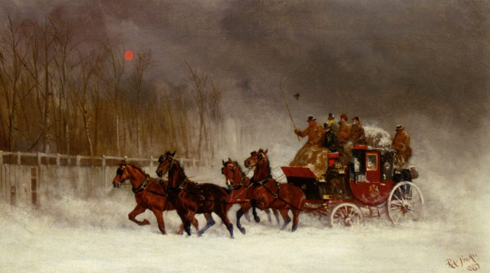 Winter Royal Mail Coach :: Alfred F. De Prades - Horses in art фото