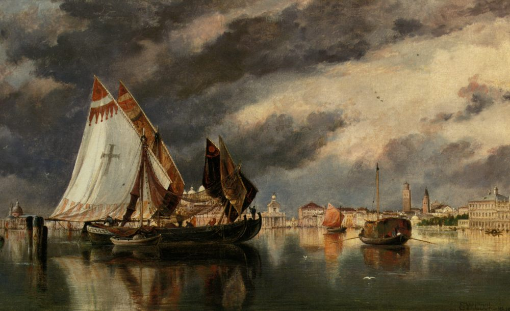 seascape In The Lagoon :: Edward William Cooke - Sea landscapes with boats ôîòî