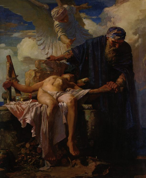 An angel prevents the sacrifice of Isaac. Abraham and Isaac :: Frederick Appleyard - Bible scenes in art and painting фото