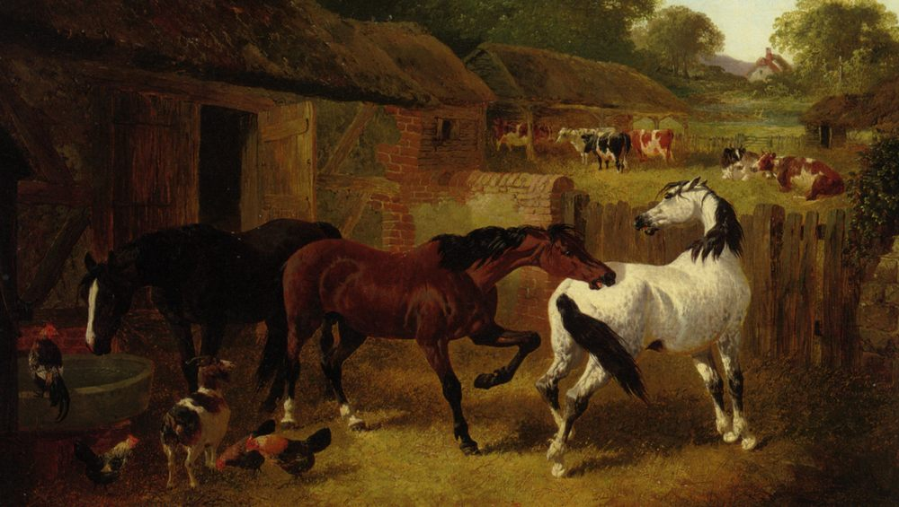 Dangerous Play :: John Frederick Herring, Jnr. - Horses in art фото