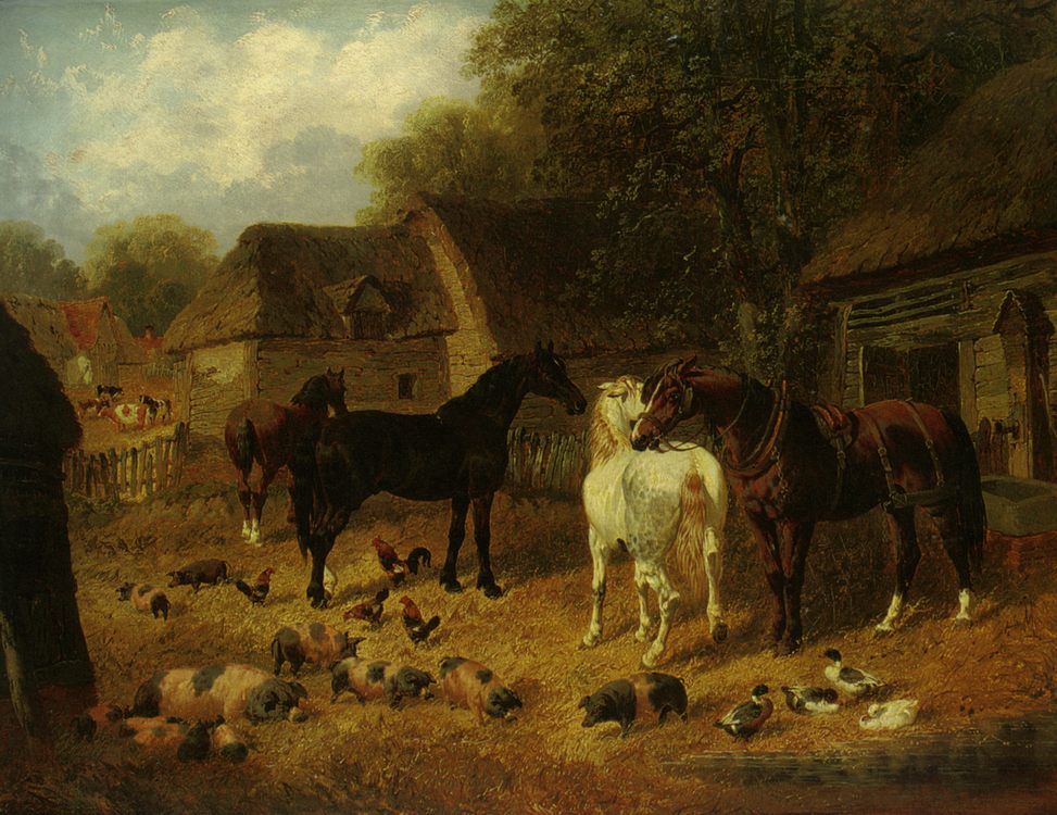Horses Pigs and Ducks Outside a Stable :: John Frederick Herring, Jnr. - Horses in art фото