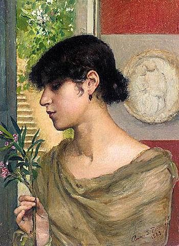 Oleander :: Annie Louisa Robinson Swynnerton - Antique beauties in art and painting фото