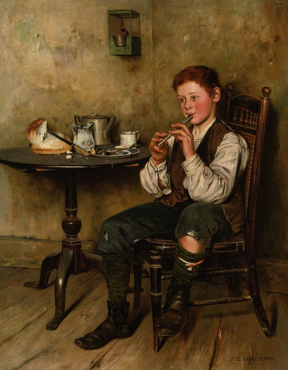 The Penny Whistle :: Charles Spencelayh - Portraits of young boys фото