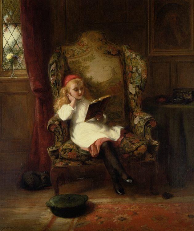 A Good Read :: George Bernard O'Neill :: George Bernard O'Neill - Portraits of young girls in art and painting ôîòî