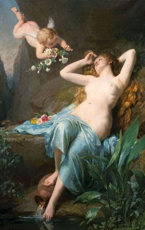 The Love of the Nymph :: Louis Emile Adan - nu art in mythology painting ôîòî