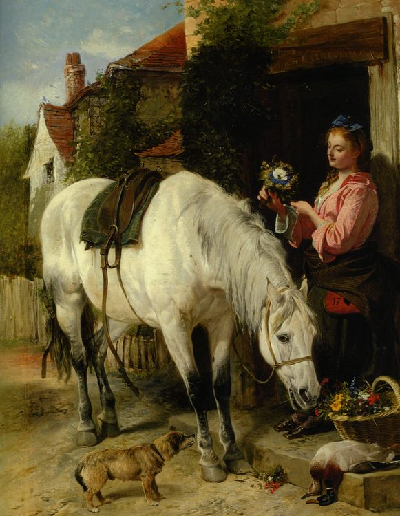 Thr Gardeners Daughter :: Richard Ansdell - Horses in art фото