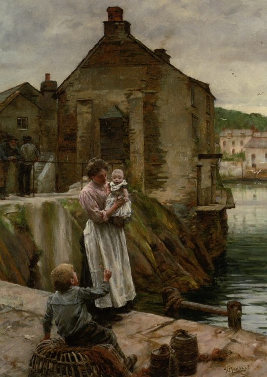 On The Quay Newlyn :: Walter Langley - Woman and child in painting and art фото