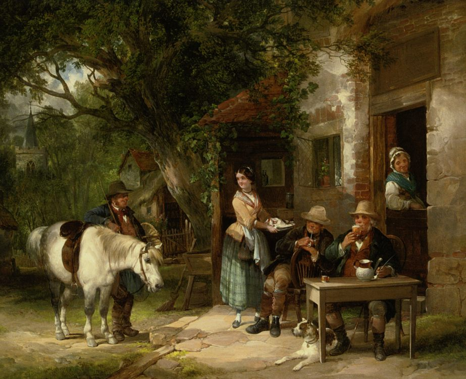 Outside the Royal Oak :: William Shayer - Romantic scenes in art and painting фото