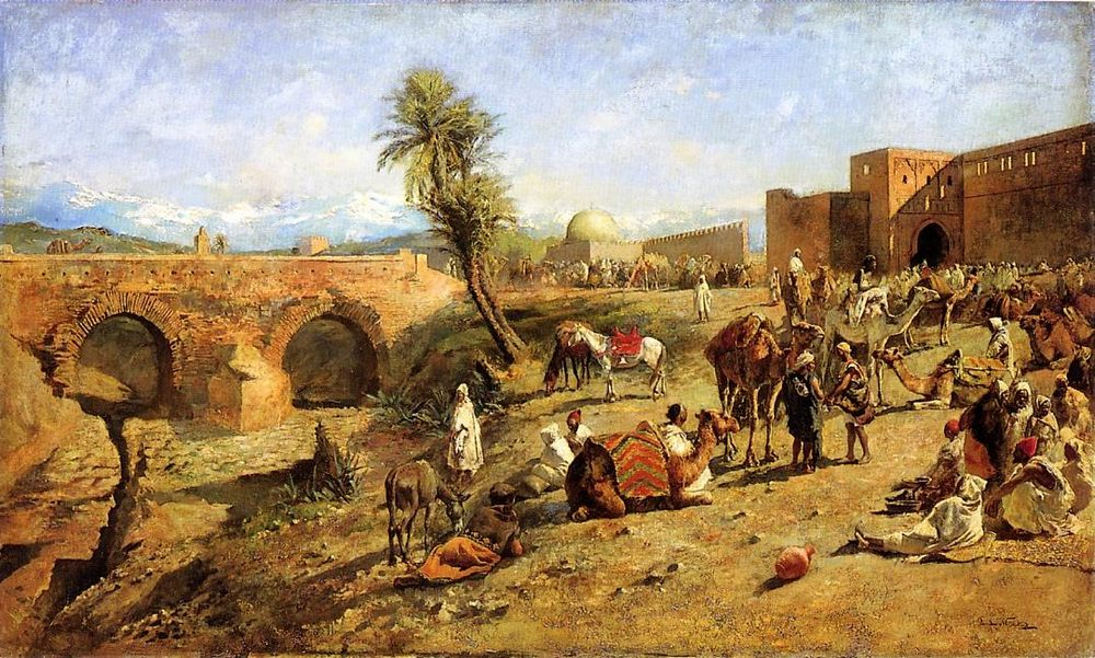 Arrival of a Caravan Outside The City of Morocco :: Edwin Lord Weeks - scenes of Oriental life ( Orientalism) in art and painting фото