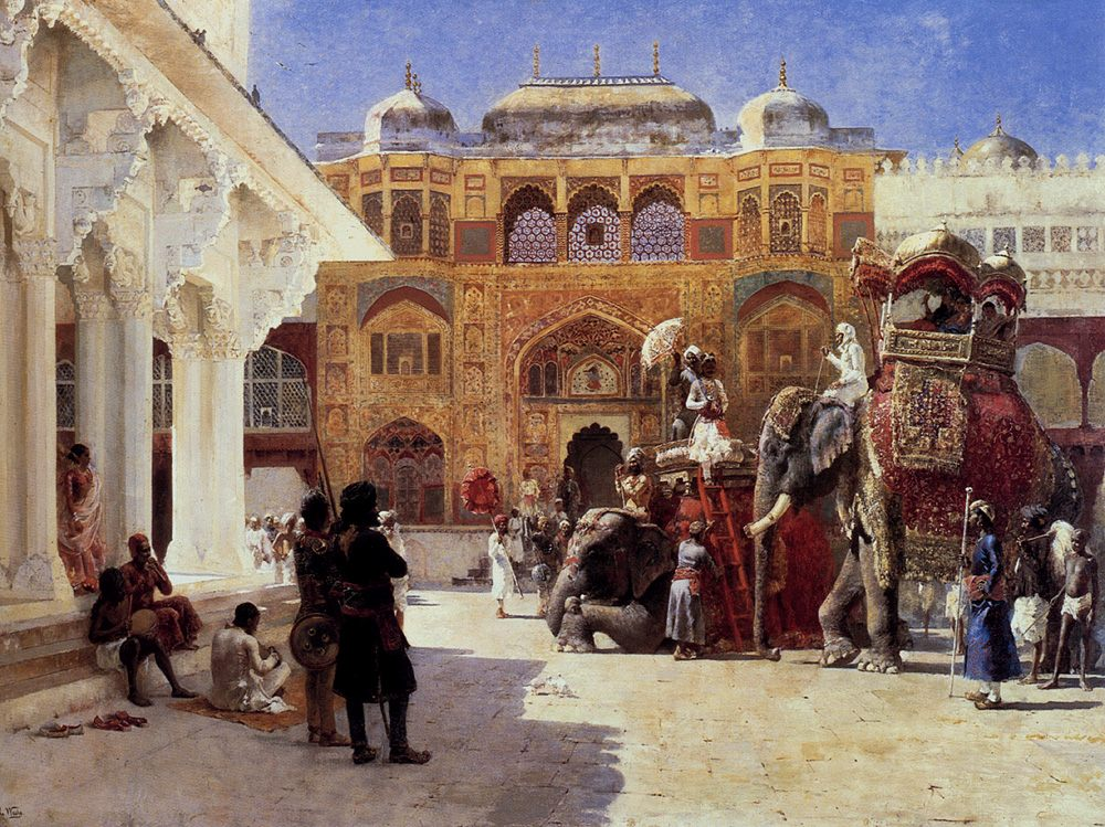 Arrival Of Prince Humbert, The Rajah, At The Palace Of Amber :: Edwin Lord Weeks - Oriental architecture фото