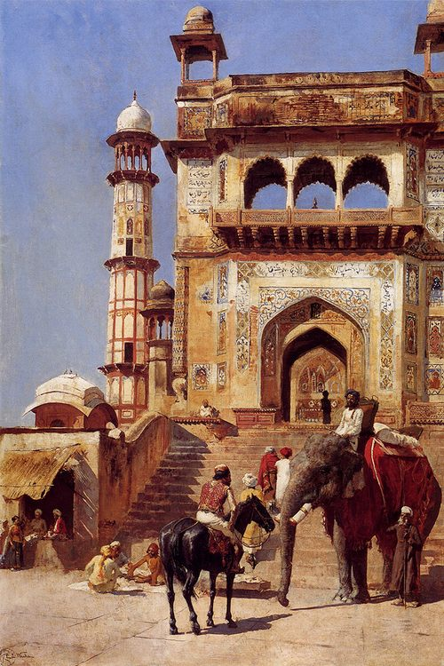 Before A Mosque :: Edwin Lord Weeks - Oriental architecture фото